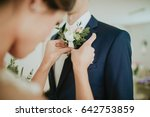 wedding flowers on the jacket... | Shutterstock . vector #642753859