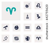 set of 12 galaxy icons set... | Shutterstock .eps vector #642755620