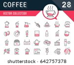 set vector line icons in flat... | Shutterstock .eps vector #642757378