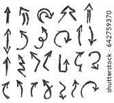 black hand drawn arrow set | Shutterstock .eps vector #642759370