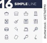 Set Of 16 Kitchen Outline Icon...