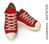 red sneakers isolated on white. ... | Shutterstock . vector #642767539