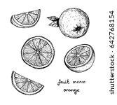 fruit menu   orange   hand... | Shutterstock .eps vector #642768154