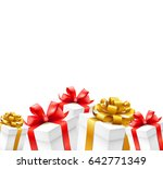 gift boxes with gold  red...   Shutterstock .eps vector #642771349