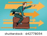 businessman flying on a leather ... | Shutterstock .eps vector #642778054