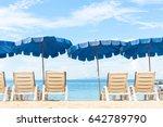 umbrella and beach chair on... | Shutterstock . vector #642789790