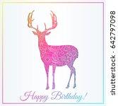 happy birthday card with deer...   Shutterstock .eps vector #642797098