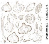 hand drawn sketch style onions... | Shutterstock .eps vector #642808276