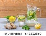 beverage with lemon cucumber... | Shutterstock . vector #642812860