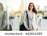 pretty woman in business suit... | Shutterstock . vector #642816289