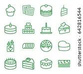 cake icons set. set of 16 cake... | Shutterstock .eps vector #642816544