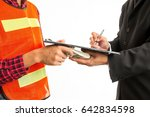 construction worker giving a... | Shutterstock . vector #642834598