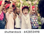 group of diverse kids hands... | Shutterstock . vector #642853498