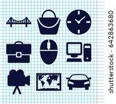 set of 9 modern filled icons... | Shutterstock .eps vector #642863680