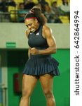 Small photo of RIO DE JANEIRO, BRAZIL - AUGUST 8, 2016: Olympic champion Serena Williams of United States in action during her singles round two match of the Rio 2016 Olympic Games at the Olympic Tennis Centre