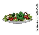 delicious fresh organ salad in... | Shutterstock .eps vector #642865678