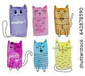 cute watercolor cats vector set.... | Shutterstock .eps vector #642878590