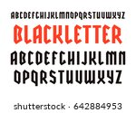 narrow sanserif font in black... | Shutterstock .eps vector #642884953