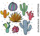 cute cactus set | Shutterstock . vector #642885466