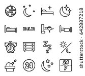 night icons set. set of 16... | Shutterstock .eps vector #642887218