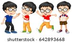 boy in glasses in four actions... | Shutterstock .eps vector #642893668