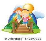two girls crossing bridge...   Shutterstock .eps vector #642897133