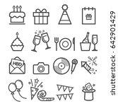 birthday thin line icons | Shutterstock .eps vector #642901429