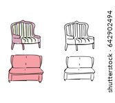 armchairs doodle style... | Shutterstock .eps vector #642902494