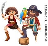 pirate and his crew with weapon ... | Shutterstock .eps vector #642904513