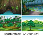 four scenes of forests... | Shutterstock .eps vector #642904624