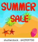 summer sale beach with starfish ... | Shutterstock .eps vector #642909700
