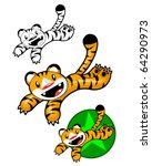 Funny Tiger Jumping and Smiling - stock vector