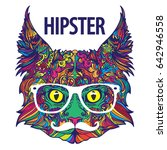 hipster fashion ornament face... | Shutterstock .eps vector #642946558