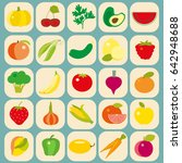 fruit and vegetables flat icons ... | Shutterstock .eps vector #642948688