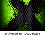 Abstract Green Metal With X...
