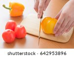 tomatoes and cucumbers and... | Shutterstock . vector #642953896