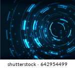neon blue circles abstract... | Shutterstock . vector #642954499