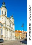 Small photo of View of a pauline church of the holy ghost and saint paul in the polish city warsaw.
