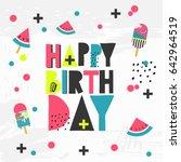 happy birthday card   hand... | Shutterstock .eps vector #642964519