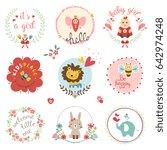 kids elements  labels  frames ... | Shutterstock .eps vector #642974248
