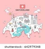 switzerland travel landmark... | Shutterstock .eps vector #642979348