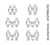 gay family thin line icons... | Shutterstock . vector #642988150