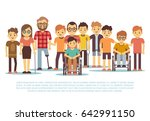 disabled child  handicapped... | Shutterstock . vector #642991150