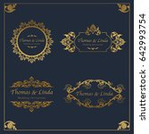vintage wedding labels vector | Shutterstock .eps vector #642993754