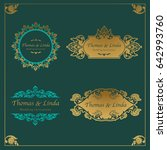 vintage wedding labels vector | Shutterstock .eps vector #642993760