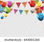 group of colour glossy helium... | Shutterstock .eps vector #643001260