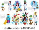 blue hat with a gray ribbon.... | Shutterstock .eps vector #643003660