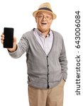 senior showing a phone to the... | Shutterstock . vector #643006084