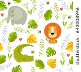 vector tropical background with ... | Shutterstock .eps vector #643008946