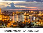 container container ship in... | Shutterstock . vector #643009660